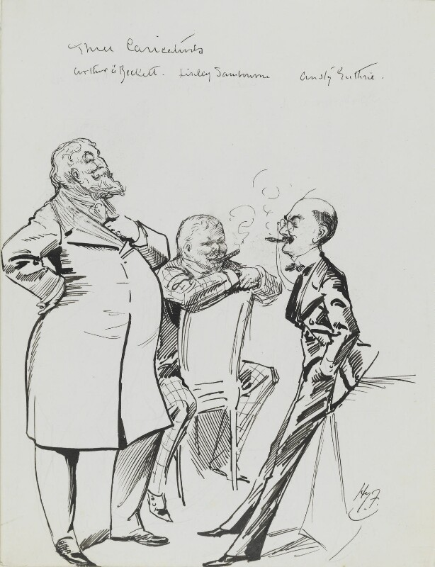Arthur William à Beckett; Edwin Linley Samborne; Thomas ('F. Anstey') Guthrie, by Harry Furniss, 1880s-1900s -NPG 3619 - © National Portrait Gallery, London