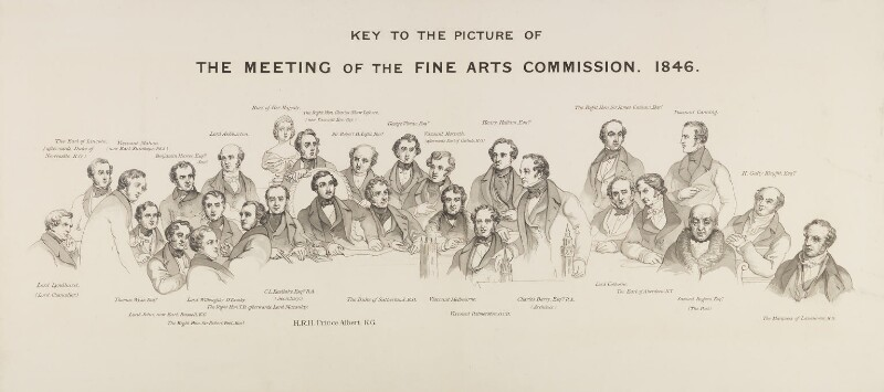Key to 'The Fine Arts Commissioners, 1846', by Sir George Scharf, 1872 -NPG 343c -