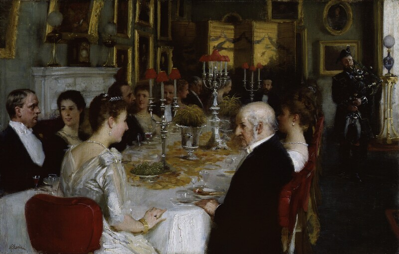 Dinner at Haddo House, 1884, by Alfred Edward Emslie, 1884 - NPG 3845 - © National Portrait Gallery, London