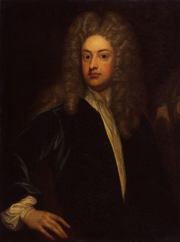 Joseph Addison, by Sir Godfrey Kneller, Bt, 1712, based on a work of circa 1712 -NPG 283 -
