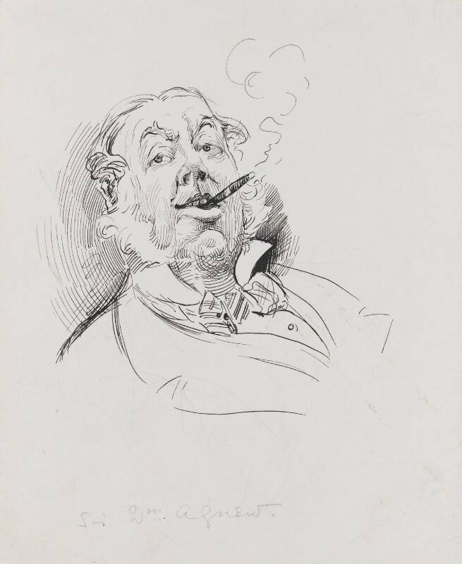 Sir William Agnew, 1st Bt, by Harry Furniss, 1880s - NPG 3413 - © National Portrait Gallery, London