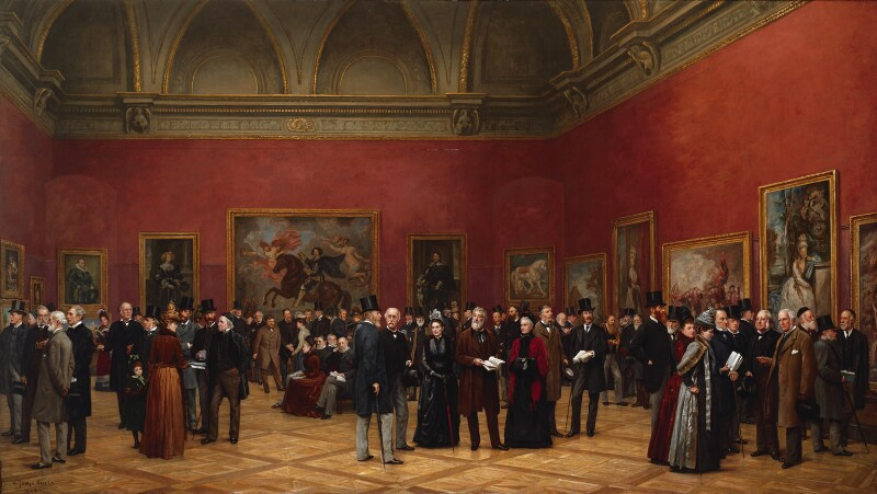 Private View of the Old Masters Exhibition, Royal Academy, 1888, by Henry Jamyn Brooks, 1889 - NPG 1833 - © National Portrait Gallery, London