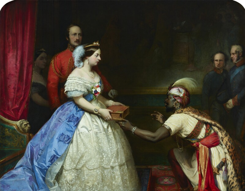 'The Secret of England's Greatness' (Queen Victoria presenting a Bible in the Audience Chamber at Windsor), by Thomas Jones Barker, circa 1863 - NPG 4969 - © National Portrait Gallery, London