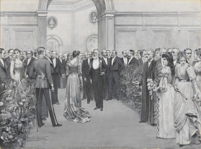 The Royal Academy Conversazione, 1891, by George Henry Grenville Manton, 1891 -NPG 2820 - © National Portrait Gallery, London