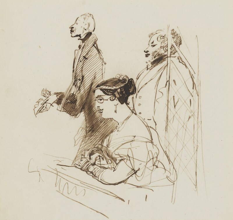 General Phipps, Mrs Norton and 2nd Baron Alvanley at the theatre, by Edwin Landseer, circa 1834-1835 -NPG 4918 - © National Portrait Gallery, London