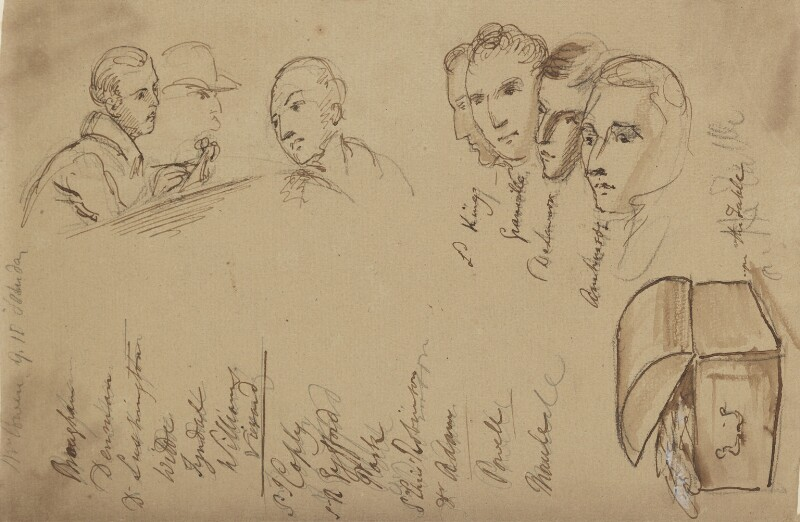 Various heads including 7th Baron King of Ockham, 1st Earl Granville, 5th Earl de la Warr and 1st Earl Amherst of Arracan, by Sir George Hayter, circa 1820 - NPG 2662(20) - © National Portrait Gallery, London