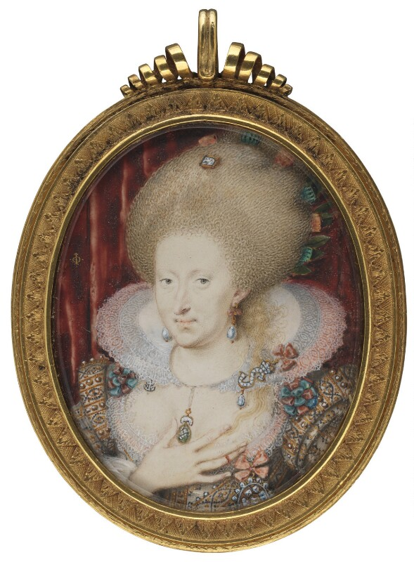 Anne of Denmark, by Isaac Oliver, circa 1612 - NPG 4010 - © National Portrait Gallery, London
