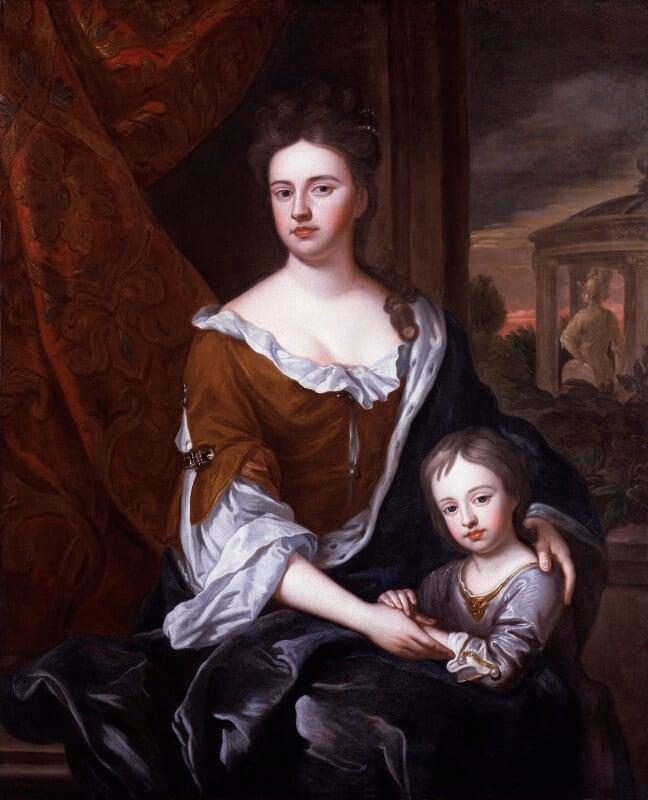 Queen Anne; William, Duke of Gloucester, after Sir Godfrey Kneller, Bt, based on a work of circa 1694 - NPG 325 - © National Portrait Gallery, London