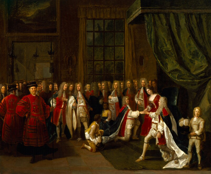 Queen Anne and the Knights of the Garter, by Peter Angelis, circa 1725 - NPG 624 - © National Portrait Gallery, London