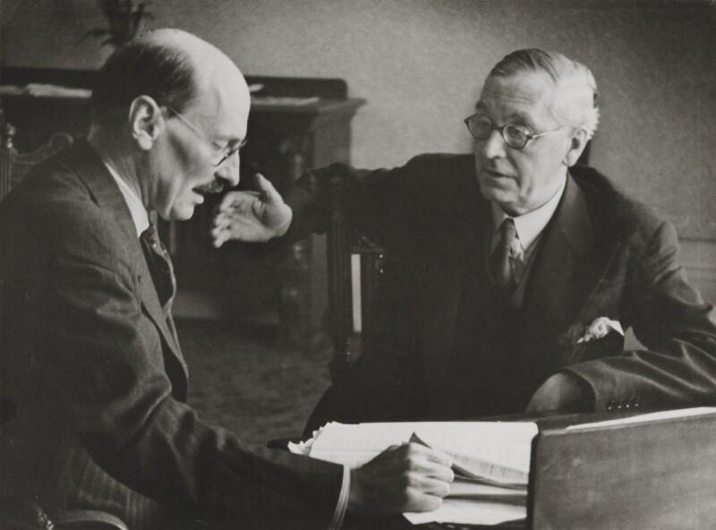 Clement Attlee; Arthur Greenwood, by Felix H. Man (Hans Baumann), 1939 - NPG P16 - © National Portrait Gallery, London