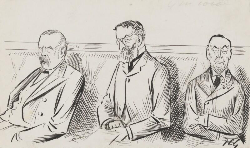 Arthur James Balfour, 1st Earl of Balfour; Michael Edward Hicks Beach, 1st Earl St Aldwyn; Joe Chamberlain, by Sir Francis Carruthers Gould ('F.C.G.'), 1900s? - NPG 2864 - © National Portrait Gallery, London