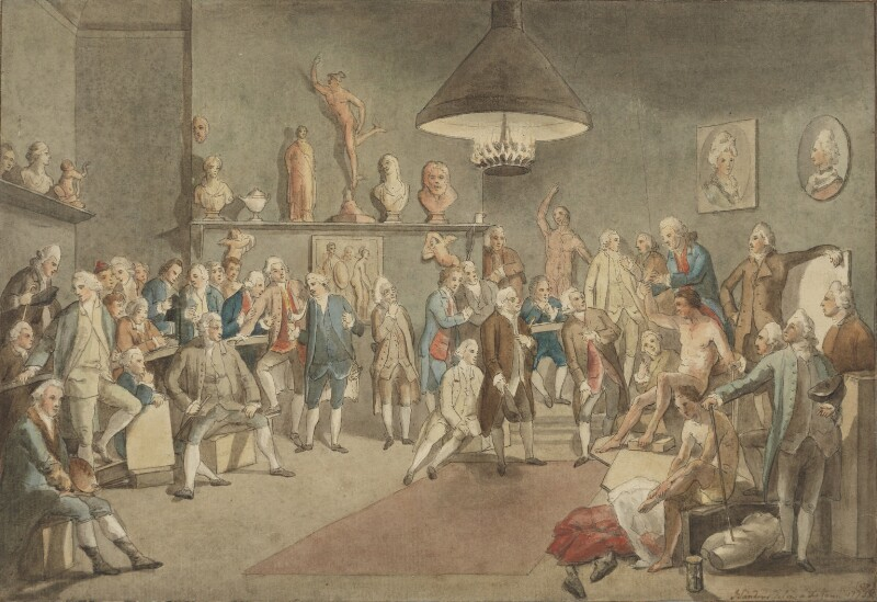 The Academicians of the Royal Academy, by John Sanders; Johan Joseph Zoffany, 1773, based on a work of 1772 -NPG 1437 - © National Portrait Gallery, London