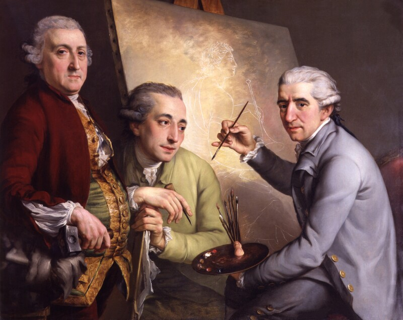 Agostino Carlini; Francesco Bartolozzi; Giovanni Battista Cipriani, by John Francis Rigaud, 1777 -NPG 3186 - © National Portrait Gallery, London