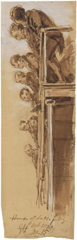 Balcony group, by Sir George Hayter, October 1820 - NPG 1695(u) - © National Portrait Gallery, London