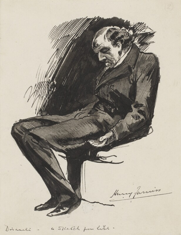 Benjamin Disraeli, Earl of Beaconsfield, by Harry Furniss, 1880s-1900s - NPG 3342 - © National Portrait Gallery, London