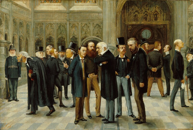 The Lobby of the House of Commons, 1886, by Liborio Prosperi ('Lib'), published in Vanity Fair Christmas Supplement 1886 - NPG 5256 - © National Portrait Gallery, London