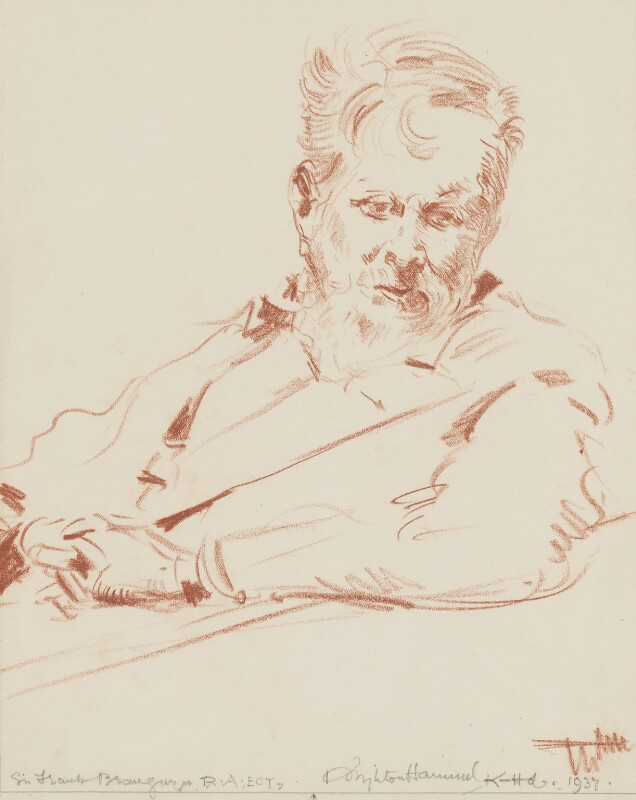 Sir Frank Brangwyn, by Arthur Henry Knighton-Hammond, 1937 - NPG 4374 - © estate of Arthur Henry Knighton-Hammond / National Portrait Gallery, London