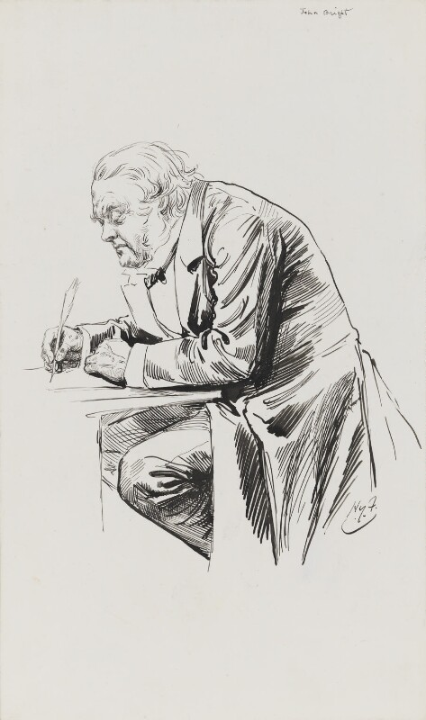 John Bright, by Harry Furniss, 1880s-1900s - NPG 3345 - © National Portrait Gallery, London