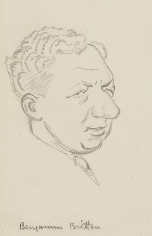 Benjamin Britten, by Sir David Low, 1952 or before - NPG 4529(62) - © Solo Syndication Ltd