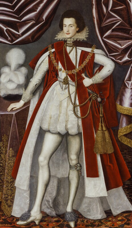 George Villiers, 1st Duke of Buckingham, attributed to William Larkin, and  studio of William Larkin, circa 1616 - NPG 3840 - © National Portrait Gallery, London