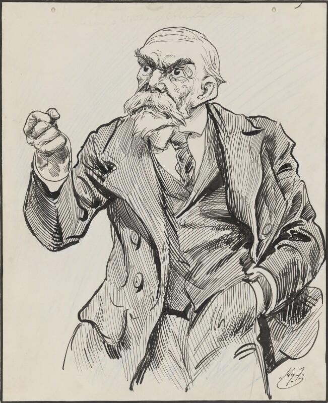 John Elliott Burns, by Harry Furniss, 1880s-1900s - NPG 3346 - © National Portrait Gallery, London