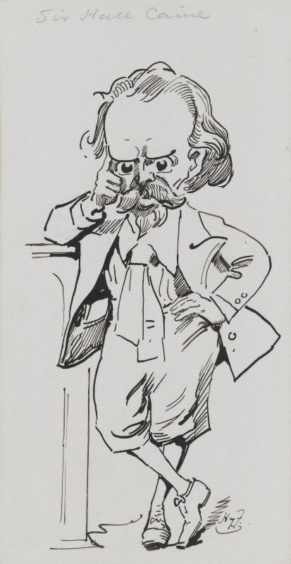Sir (Thomas Henry) Hall Caine, by Harry Furniss, 1880s-1900s - NPG 3435 - © National Portrait Gallery, London
