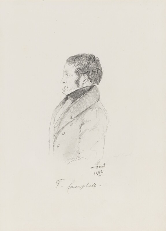 Thomas Campbell, by Alfred, Count D'Orsay, 1832 - NPG 4026(10) - © National Portrait Gallery, London