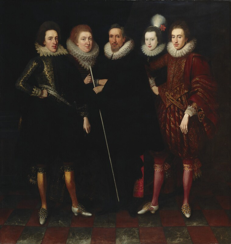 The 1st Earl of Monmouth and his family, attributed to Paul van Somer, circa 1617 - NPG 5246 - © National Portrait Gallery, London