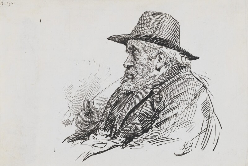 Thomas Carlyle, by Harry Furniss, 1880s-1900s - NPG 3558 - © National Portrait Gallery, London