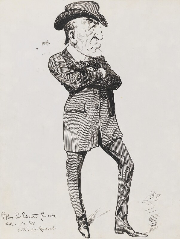 Edward Henry Carson, 1st Baron Carson, by Harry Furniss, 1880s-1900s - NPG 3347 - © National Portrait Gallery, London