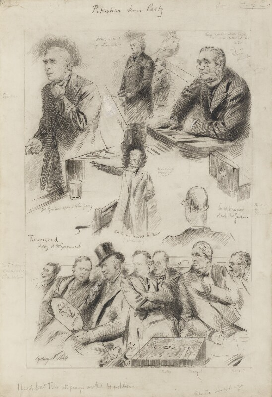 Debate on the Indian Council Cotton Duties, by Sydney Prior Hall, published in The Graphic 2 March 1895 - NPG 2307 - © National Portrait Gallery, London