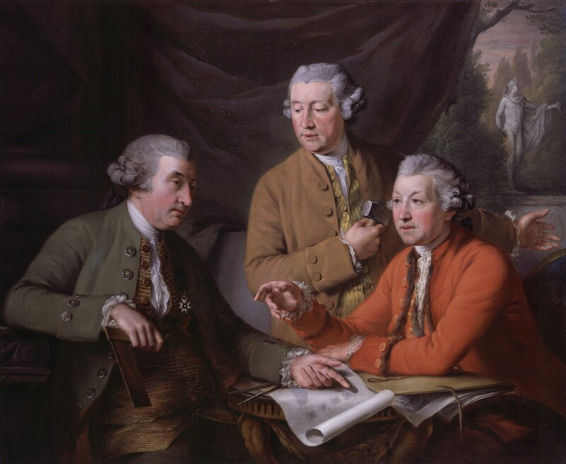 Sir William Chambers; Joseph Wilton; Sir Joshua Reynolds, by John Francis Rigaud, 1782 -NPG 987 - © National Portrait Gallery, London