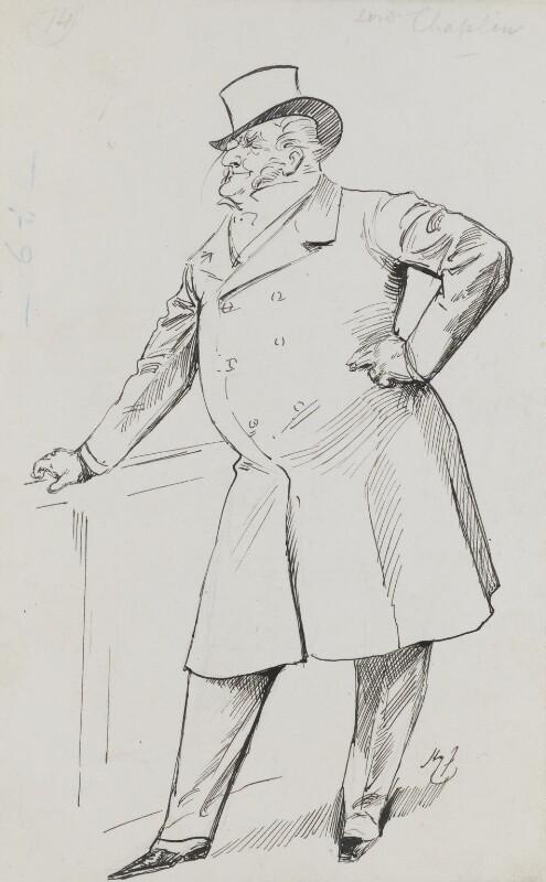 Henry Chaplin, 1st Viscount Chaplin, by Harry Furniss, 1880s-1900s - NPG 3440 - © National Portrait Gallery, London