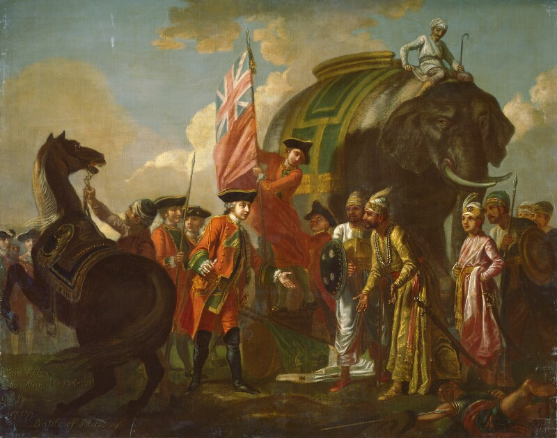 Robert Clive and Mir Jafar after the Battle of Plassey, 1757, by Francis Hayman, circa 1760 - NPG 5263 - © National Portrait Gallery, London