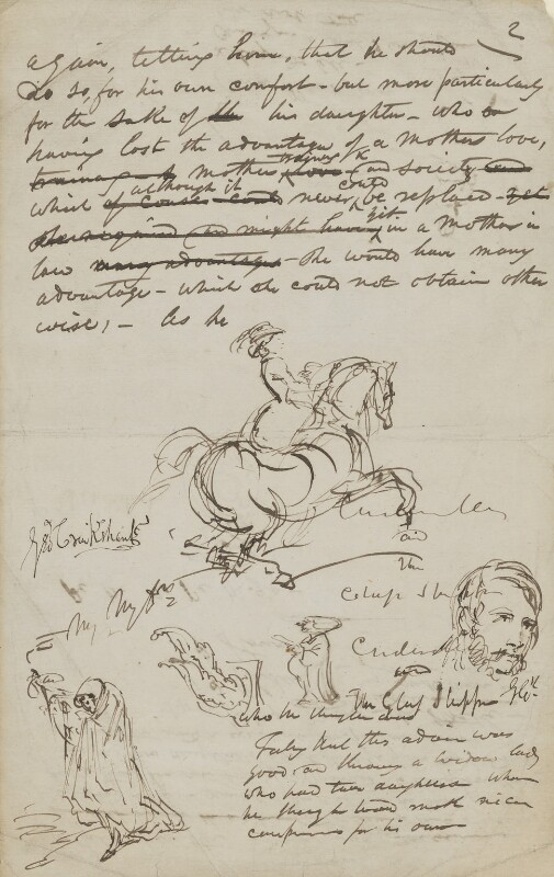 Sketches on seven sheets of MS fragments, by George Cruikshank,  - NPG 4259 - © National Portrait Gallery, London