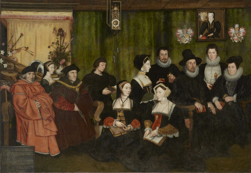 Sir Thomas More, his father, his household and his descendants  attributed to Rowland Lockey, after Hans Holbein the Younger oil on canvas, 1593 89 1/2 in. x 130 in. (2274 mm x 3302 mm) Bequeathed by Emslie John Horniman, 1935 NPG 2765