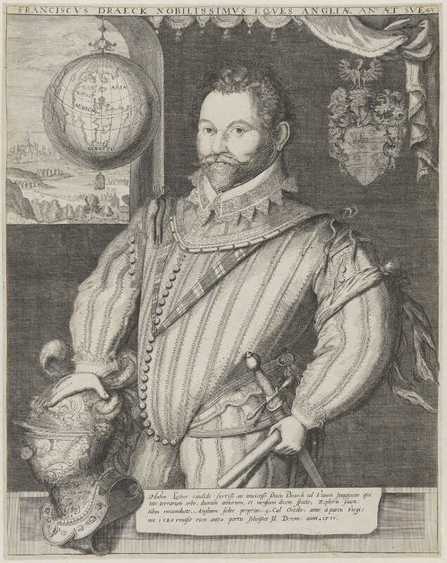 Sir Francis Drake, attributed to Jodocus Hondius, completed by  George Vertue, circa 1583 - NPG 3905 - © National Portrait Gallery, London