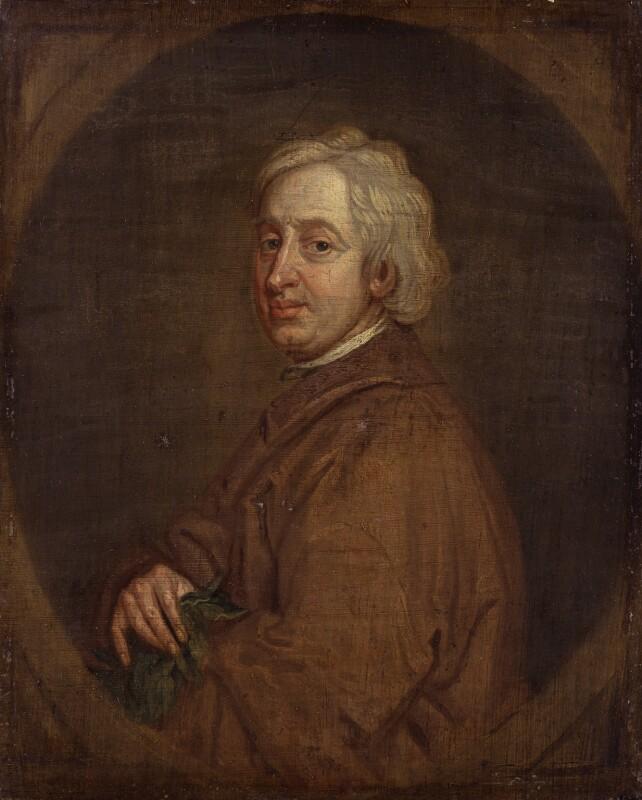 John Dryden, by Sir Godfrey Kneller, Bt, based on a work of 1697 -NPG 57 - © National Portrait Gallery, London