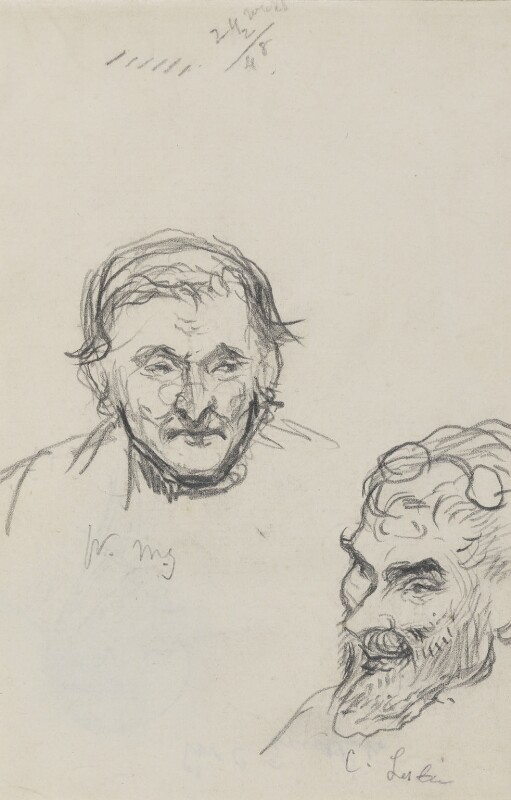 William Mulready; Charles Robert Leslie, by Charles West Cope, circa 1862 -NPG 3182(5) - © National Portrait Gallery, London