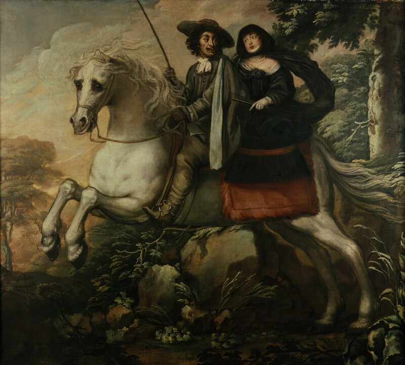 King Charles II and Jane Lane riding to Bristol, by Isaac Fuller, 1660s? - NPG 5251 - © National Portrait Gallery, London