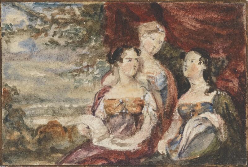 Mary Gardiner, Harriet Gardiner and Louisa Gardiner; Daughters of Colonel Thomas Gardiner, by Sir George Hayter, circa 1812 -NPG 883(11) - © National Portrait Gallery, London