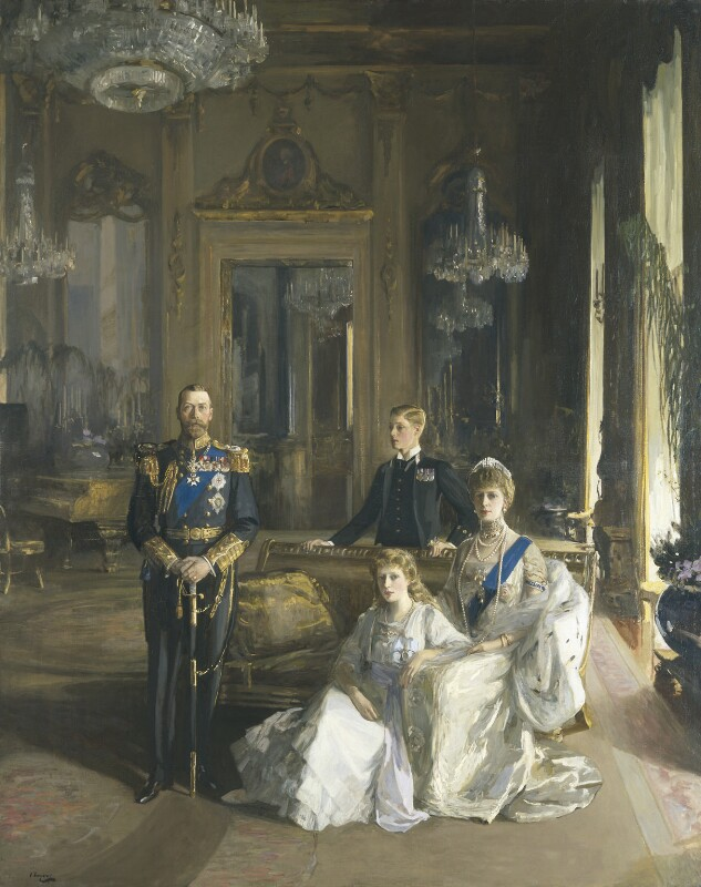 The Royal Family at Buckingham Palace, 1913, by Sir John Lavery, 1913 - NPG 1745 - © National Portrait Gallery, London