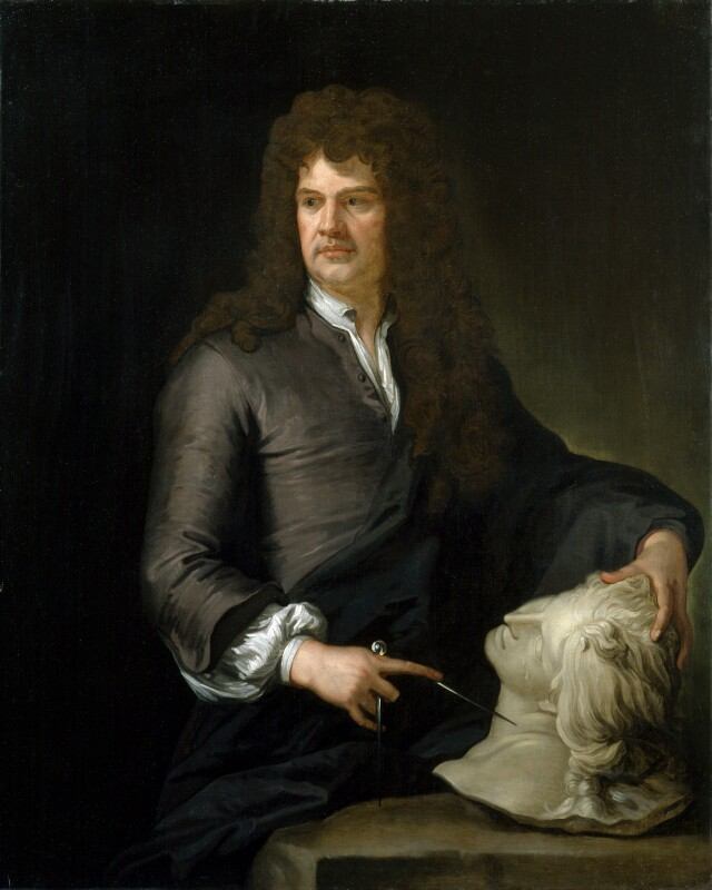 Grinling Gibbons, by Sir Godfrey Kneller, Bt, based on a work of circa 1690 -NPG 2925 - © National Portrait Gallery, London