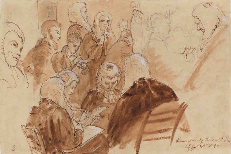 Group including 1st Baron Gifford, Lushington, Baron Lyndhurst, di Spineto and 1st Baron Truro, by Sir George Hayter, 1820 - NPG 1695(i) - © National Portrait Gallery, London