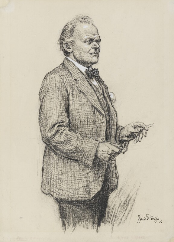 Sir Alfred Gilbert, by Bernard Partridge, published in Punch 8 May 1929 -NPG 4076 - © National Portrait Gallery, London