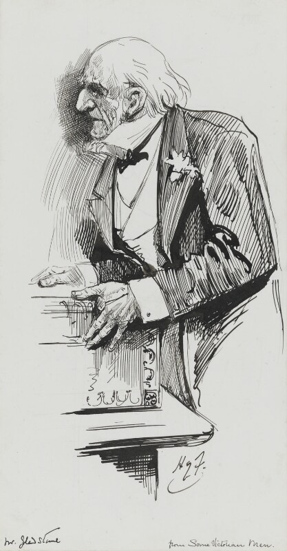 William Ewart Gladstone, by Harry Furniss, 1880s-1900s - NPG 3360 - © National Portrait Gallery, London