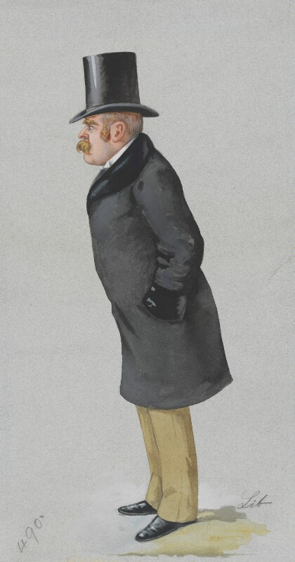 Sir Francis Carruthers Gould ('F.C.G.'), by Liborio Prosperi ('Lib'), published in Vanity Fair 22 February 1890 -NPG 3278 - © National Portrait Gallery, London