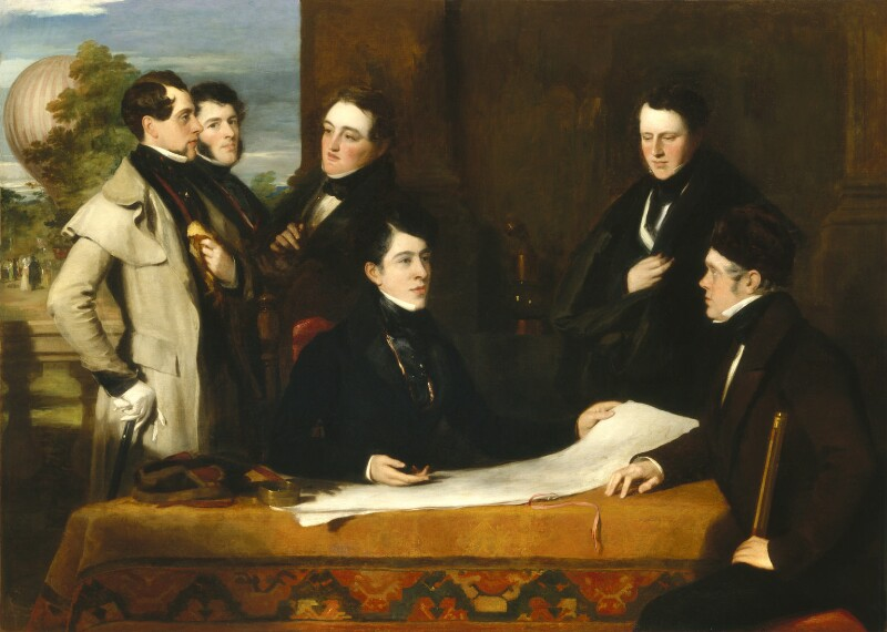A Consultation prior to the Aerial Voyage to Weilburgh, 1836, by John Hollins, circa 1836-1838 - NPG 4710 - © National Portrait Gallery, London