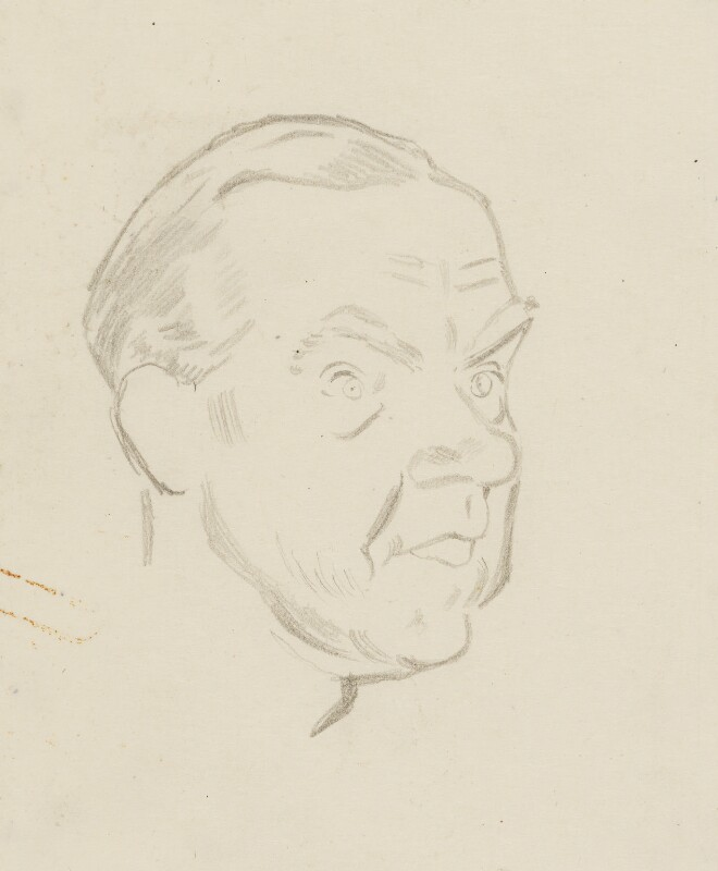 Graham Greene, by Sir David Low, 1952 or before - NPG 4529(147) - © Solo Syndication Ltd