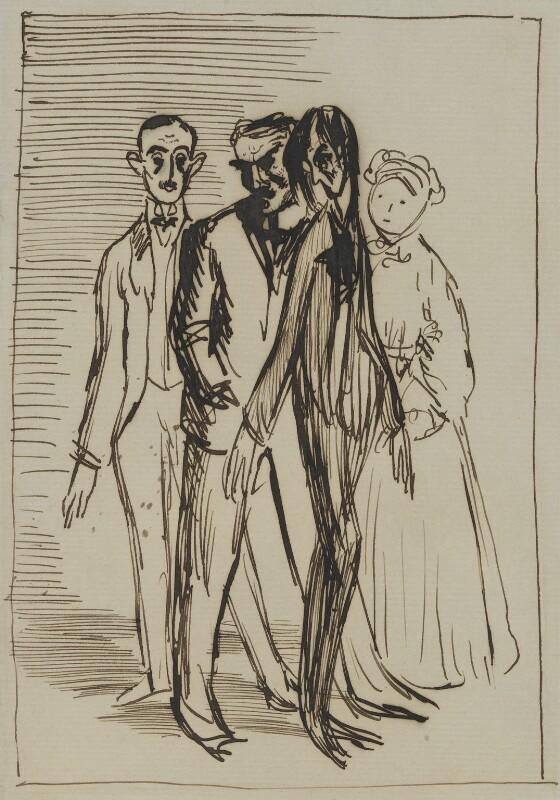 Sir Hugh Percy Lane; John Millington Synge; W.B. Yeats; Augusta, Lady Gregory, by Sir William Orpen, 1907 - NPG 4676 - © National Portrait Gallery, London
